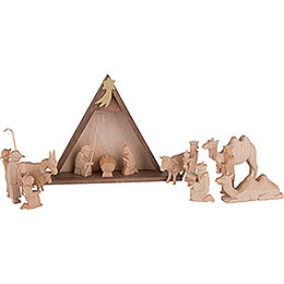 Nativity Set of 16 Pieces, Untreated - 14,5 cm / 5.7 inch