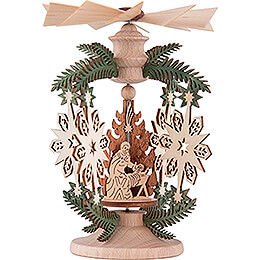1-Tier Thermic Pyramid - Branch Snowflake - Nativity - 13 cm / 5.1 inch