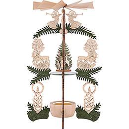 1-stöckige Pyramide Waldhaus - Weihnachtsmann, Hirsch und Engel - 26 cm