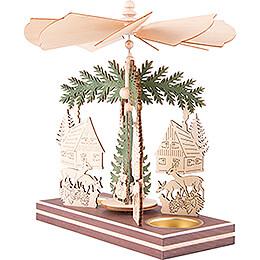 1-stöckige Pyramide Waldhaus mit Weihnachtsmann und Hirsch - 20 cm