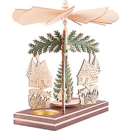 1-Tier Pyramid - Forest House with Santa and Deer - 20 cm / 7.9 inch