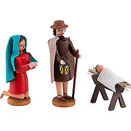 Seiffen Nativity - Holy Family - 3 pieces - 8 cm / 3.1 inch