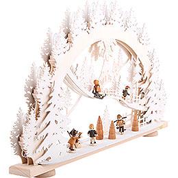 3D-Schwibbogen Kinder im Schnee - 66x40x8,5 cm