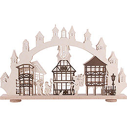3D-Doppelschwibbogen Altstadt mit Innenbeleuchtung - 66x43x6 cm