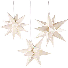 Erzgebirge-Palace Moravian Star Set of Three Cream-Colored incl. Lighting - 17 cm / 6.7 inch