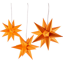 Erzgebirge-Palast Adventsstern 3er-Set orange inkl. Beleuchtung - 17 cm
