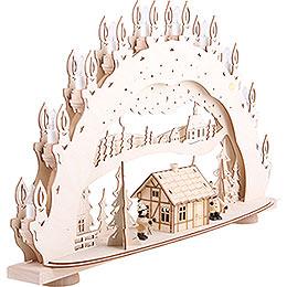 3D-Schwibbogen Skihütte Räucherhaus - 66x40x11,5 cm