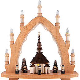 Light Triangle - Seiffen Church with Carolers - 42x44 cm / 16.5x17.3 inch