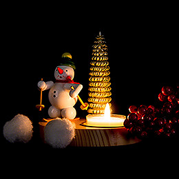 Candle Holder - Snowman with Snowshoe - 10 cm / 3.9 inch