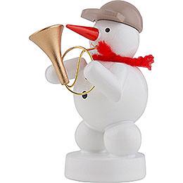 Schneemann Musikant mit Fanfare - 8 cm