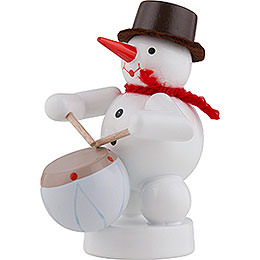 Snowman Musician with Drum - 8 cm / 3 inch