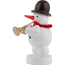 Schneemann Musikant mit Jazztrompete - 8 cm
