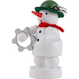 Snowman Musician with Tambourine - 8 cm / 3 inch