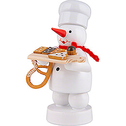 Snowman Baker with Cake Board and Pretzel - 8 cm / 3.1 inch
