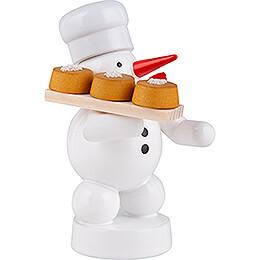 Schneemann Bäcker mit Kuchen - 8 cm
