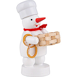 Snowman Baker with Basket and Pretzel - 8 cm / 3.1 inch