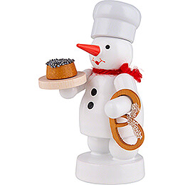 Snowman Baker with Poppy Cake and Pretzel - 8 cm / 3.1 inch