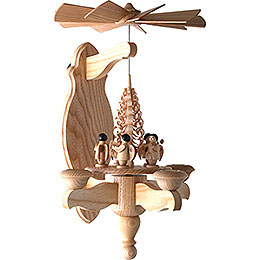1-Tier Wall Pyramid Angel and Wood Chip Tree - 40x22 cm / 15.7x8.7 inch
