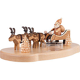 Candle Holder - Ruprecht and his reindeers - Natural - 9 cm / 3.5 inch