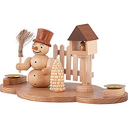 Candle Holder - Snow Man - Natural - 11 cm / 4.3 inch