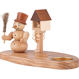 Candle Holder - Snow Man with Bird House - Natural - 11 cm / 4.3 inch