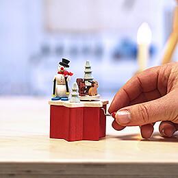 Music Box with Crank Snow Man - 7 cm / 2.8 inch