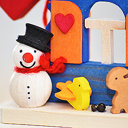 Tree Ornament - House Snowman with Animals - 7,4 cm / 2.9 inch