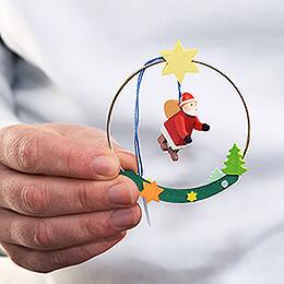 Tree Ornament - Santa in Ring - 8 cm / 3.1 inch