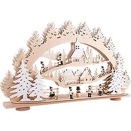 3D-Schwibbogen Kinder im Winterdorf - 66x40 cm