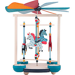 1-Tier Carousel Pyramid with Four Horses - 30 cm / 11.8 inch