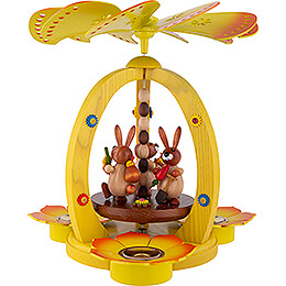 1-Tier Easter Pyramid Yellow with three Bunnies - 29 cm / 11.4 inch