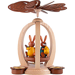 1-Tier Easter Pyramid with Blue and Yellow Bunnies - 28 cm / 11 inch
