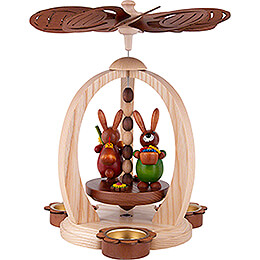 1-Tier Easter Pyramid with Red and Green Bunnies - 28 cm / 11 inch