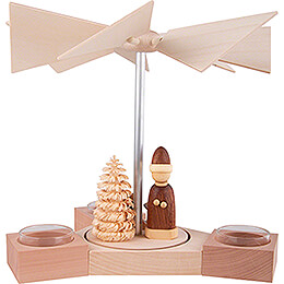 1-Tier Pyramid Hexagonum Santa with Sled Natural - 20 cm / 7.9 inch