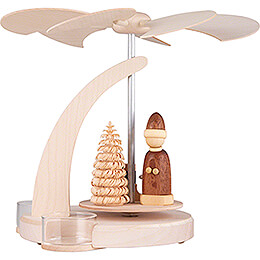 1-Tier Pyramid Santa with Sled Natural - 18 cm / 7.1 inch