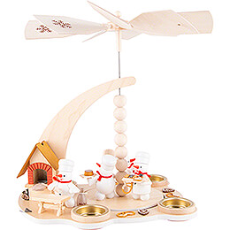 1-Tier Pyramid - Snowman Bakery with Smoking Oven - 27 cm / 10.6 inch