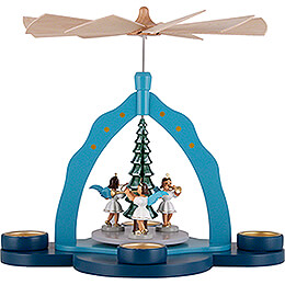 1-Tier Pyramid - Tea Candle Holder and Three Angels, Colored - 30 cm / 11.8 inch