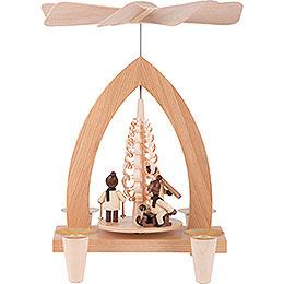 1-Tier Pyramid - Winter Children - Natural - 26 cm / 10.2 inch