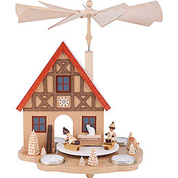 1-stöckige Pyramide Haus mit Winterkindern - 29 cm