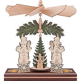 1-stöckige Pyramide Schneemann mit Winterkindern - 20 cm