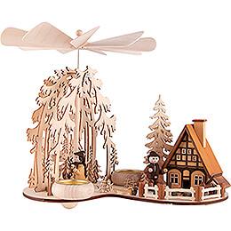 1-stöckige Pyramide Waldlichtung mit Räucherhaus und Waldleuten - 24 cm