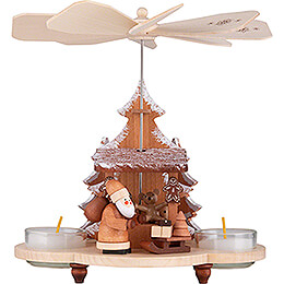 1-stöckige Pyramide Weihnachtsmann auf Striezelmarkt natur - 19,5 cm