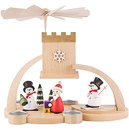 1-stöckige Pyramide mit Schnee- Weihnachtsmann, natur - 29 cm