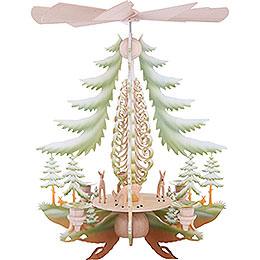 1-stöckige Pyramide mit geschnitzten Rehen, farbig - 35 cm