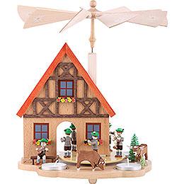 1-stöckige Teelichtpyramide Haus Bayern - 29 cm