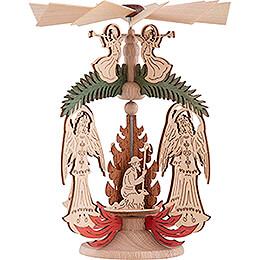 1-stöckiges Wärmespiel Engel mit Tanne - Christi Geburt - 14 cm
