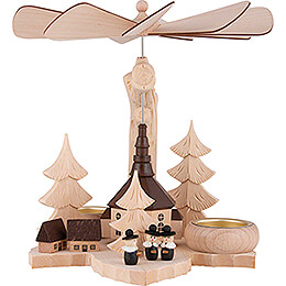 1-stöckige Blattpyramide Kurrende mit Seiffener Kirche - 21 cm