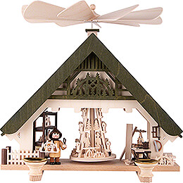1-stöckige Hauspyramide Kunsthandwerkerhaus grün - 28 cm