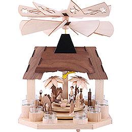 1-stöckige Pyramide Christi Geburt mit zwei gegenläufigen Flügelrädern - 41 cm