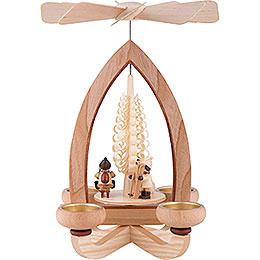 1-stöckige Pyramide Weihnachtsmotiv - natur - 28 cm